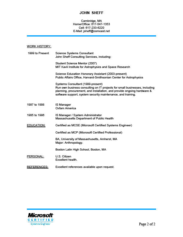 resume exles with references upon request